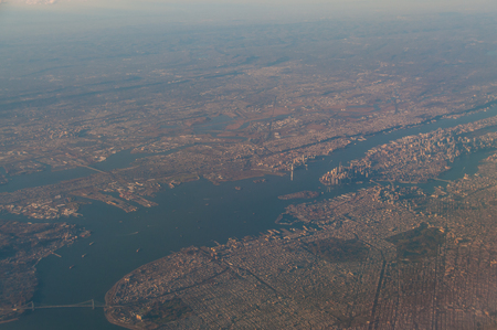 An aerial view of Manhattan and the greater New York Area