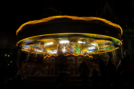 A time exposure of a merry-go-round at the Ghent Christmas Market