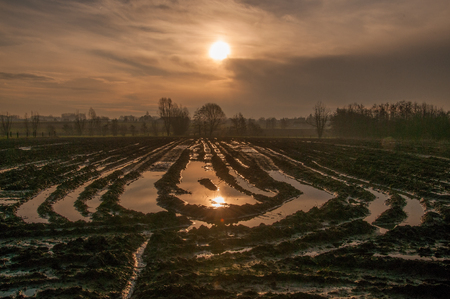 An early morning impression of the rising sun peaking above a flooded field  in the east flanders country side. Stock Photo