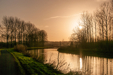 Impression of the Dender river in east flanders, around sunset.