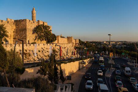 Jerusalem, Israel. June 6, 2013. Impression of the old City Wall near Jaffa gate.
