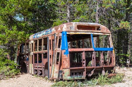 Impression of an abandoned Bus, near Mud Lake, in the vincity of Nederland, Colorado, near the Rocky Mountains