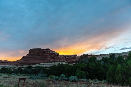 Sunset at the Needles District Campground. Canyonlands National Park, Utah