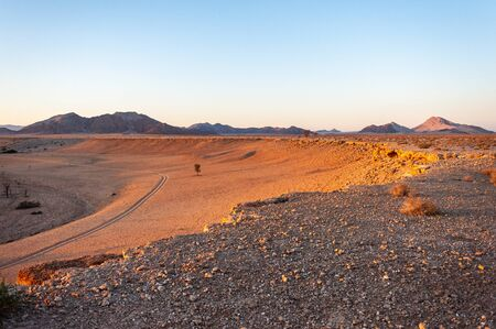 The rising sun is casting long shadows across the Dune Landscape of the Khomas Region in Central Western Namibia.