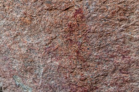 Detail of the prehistoric rock paintings of the San People in Western Namibia, near Spitzkoppe. Stock Photo