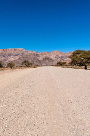 The unpaved country road C14, connecting Windhoek with Sesriem, in Western Namibia.