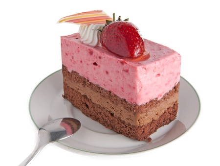 Strawberry mousse cake with chocolate. photo