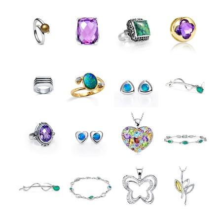 bijoux diamant: Bijoux pour les femmes sur un fond blanc.