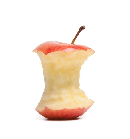 red apple core isolated on a white background Stock Photo