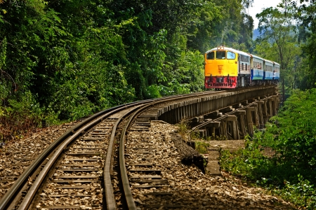 old train: Rail travel in Kanchanaburi province is called  Stock Photo