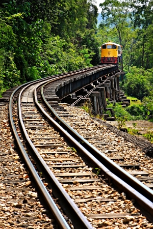 Rail travel in Kanchanaburi province is called  Stock Photo