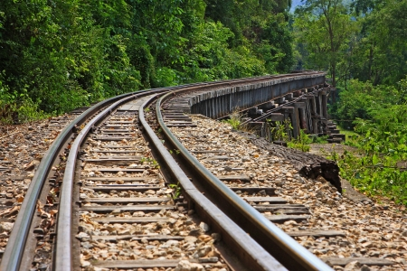 Rail travel in Kanchanaburi province is called  Stock Photo - 19742253