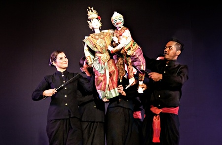 Dance Hall puppets. By Joe Louis Puppet Theater in patronage. HRH Her Royal Highness Krom Luang Narathiwat Kalayaniwattana. Sanam Luang near the north on Saturday, November 15 2008 at 19:00 am