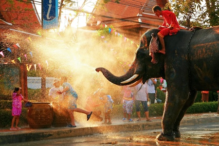BANGKOK - APRIL 15: Songkran Festival is celebrated in a traditional New Year