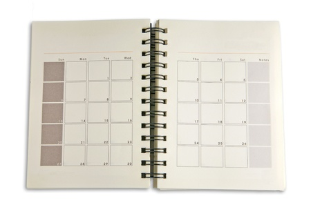calendario escolar: Horarios cuaderno para negocios Foto de archivo