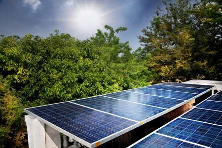 photovoltaic: Solar cells were installed on the home.