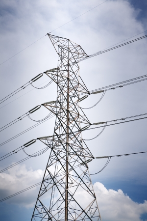 High voltage transmission towers to itself  Stock Photo