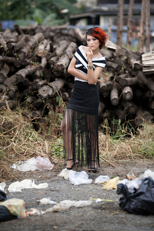 Fashion photos with a pile of junk  photo