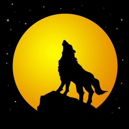 back packs: Wolf howling at the moon in the midnigt