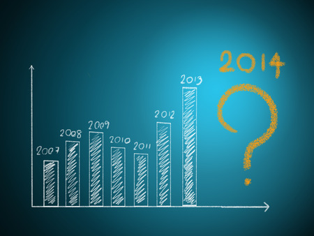financial questions: business hand writing question about 2014 on graph  Stock Photo