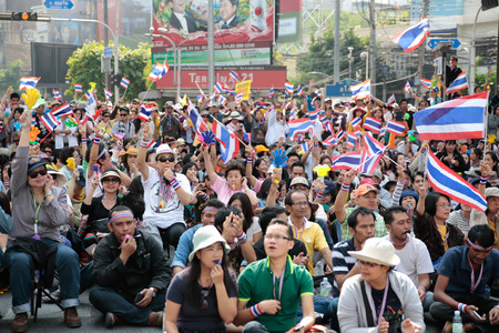 protestors: Bangkok, Thailand, December 22, 2013   Anti-Thaksinomics protestors gathered to bring down Yingluck, Thaksin Editorial