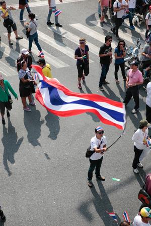 rightwing: Bangkok, Thailand, December 22, 2013   Anti-Thaksinomics protestors gathered to bring down Yingluck, Thaksin Editorial