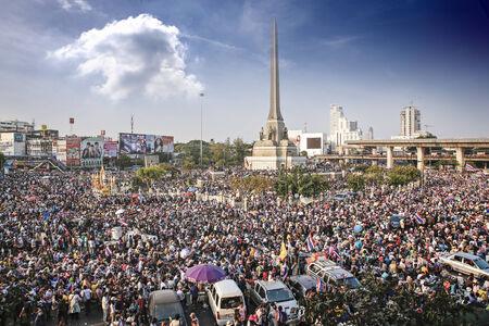 Bangkok, Thailand, December 22, 2013   Anti-Thaksinomics protestors gathered to bring down Yingluck, Thaksin