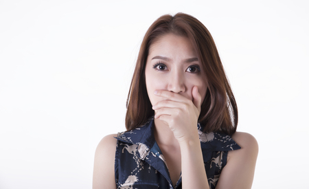 Frightened and stressed young business woman  photo