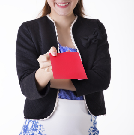 Office girl holding red envelopes photo