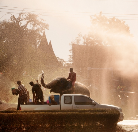 AYUTTAYA, THAILAND - APRIL 15  Songkran Festival is celebrated in a traditional New Year Редакционное