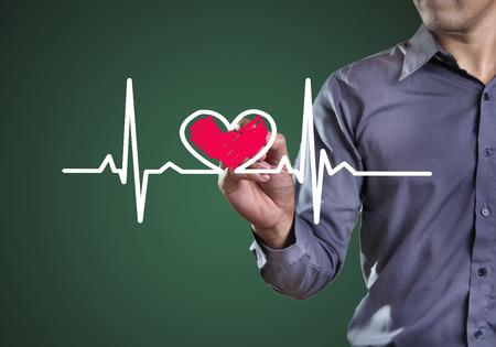tachycardia: Drawing symbols heart health Stock Photo