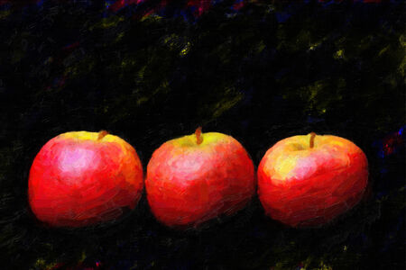 Three apple red oil painting. photo