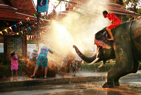 AYUTTAYA, THAILAND - APRIL 15: Songkran Festival is celebrated in a traditional New Year