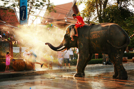 watergun: AYUTTAYA, THAILAND - APRIL 15: Songkran Festival is celebrated in a traditional New Year