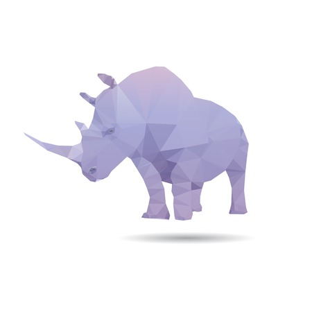 Rhino isolated on a white backgrounds, vector illustration