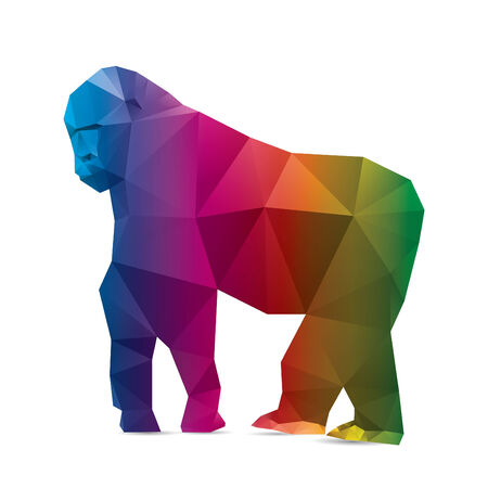 Gorilla triangle low polygon style. Good use for symbol, sticker design, website icon, avatar, or any design you want. Easy to use.