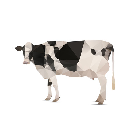 triangulation: Illustration of origami cow with spots isolated on white background