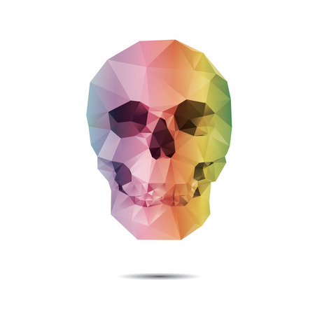 two dimensional shape: vector crystal skull on white background
