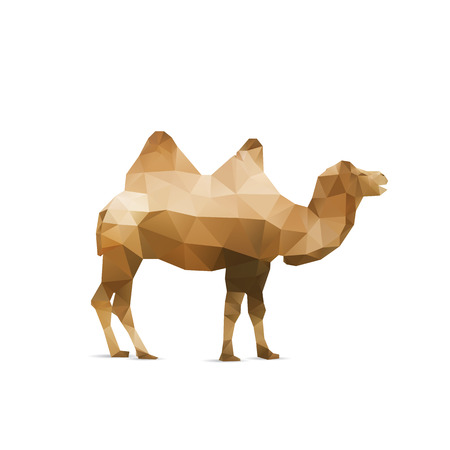 Illustration of abstract origami camel isolated on white background Иллюстрация