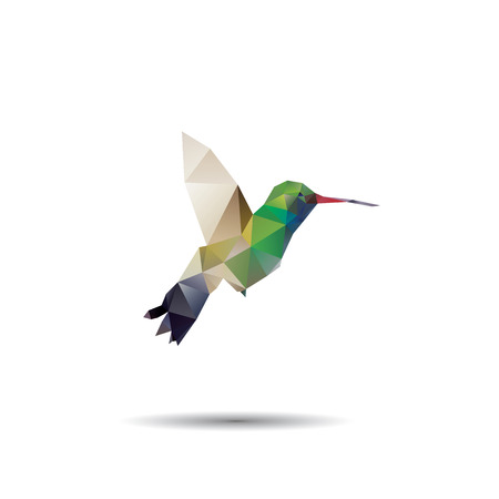 hummingbird origami (geometric style). colibri illustration of a many triangles. Vector