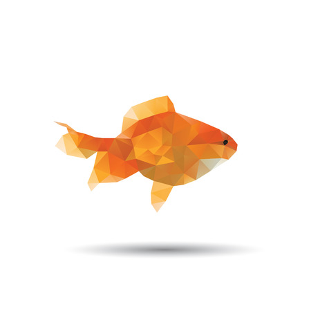 Golden fish abstract isolated on a white background, vector illustration