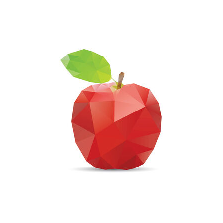 Vector abstract geometric apple. Origami style with a geometric grid Illustration
