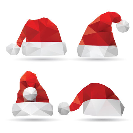 Santa Claus hat isolated on a white backgrounds, vector illustration Illustration