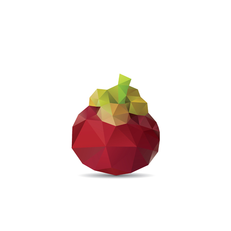 two dimensional shape: Polygonal fruit - mangosteen. Vector illustration