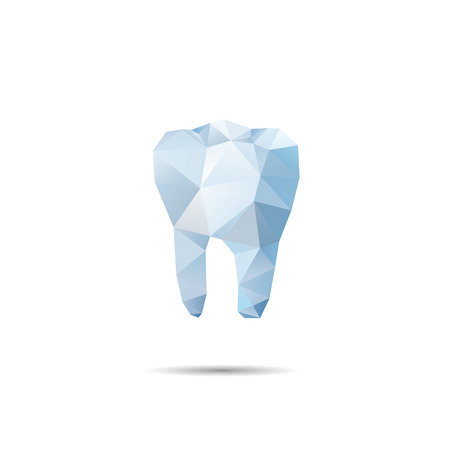 Polygonal blue vector tooth. Abstract illustration