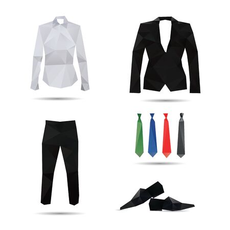 dress code: Man fashion style isolated on a white backgrounds Illustration