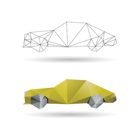 Yellow car isolated on a white backgrounds Иллюстрация