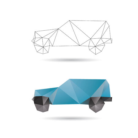 rapidity: Blue car isolated on a white backgrounds Illustration