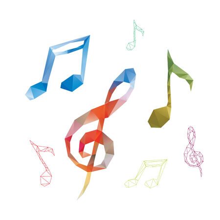 Music notes template. Colorful triangles sign concept.