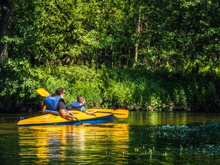 Dworczysko, Poland June 01,2018: Kayaking on the Czarna Hańcza River